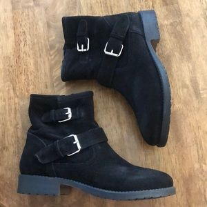 Steve Madden Alick black suede motorcycle boots